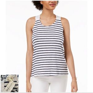 MAISON JULES NWT Navy Striped Tie-Back Tank Top
